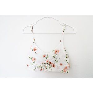 Forever 21 White Floral Button Up Crop Top Size M
